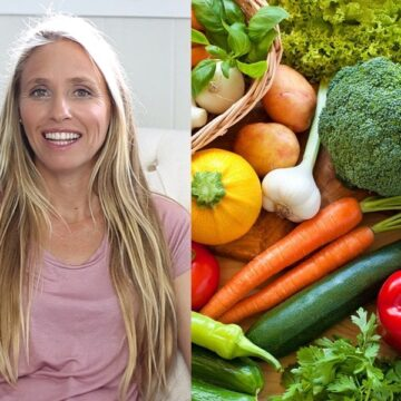 Adriana Harlan smiling for camera on left and an assortment of vegetables on the right